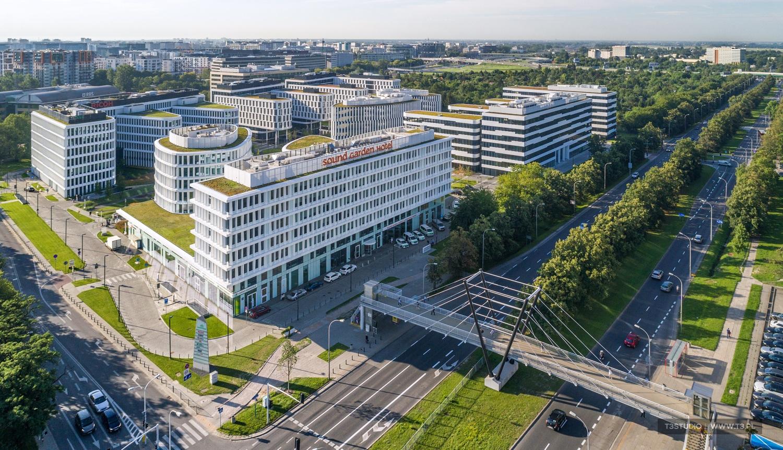 Business Garden Warszawa - sesja kompleksu biurowego z powietrza